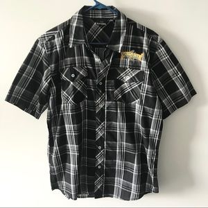 Sweetwater Brewing Company Plaid Button Up Shirt F